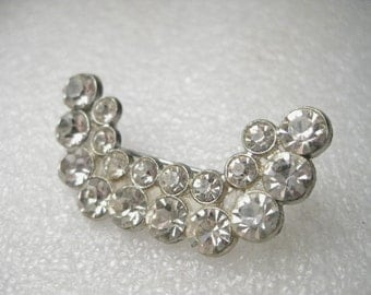 """Vintage Silver Tone 1940's Rhinestone Brooch - Crescent, Curved, Double Row, Cast Metal - 1.75"""""""