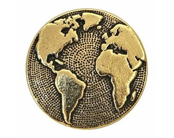 2 TierraCast Earth 5/8 inch ( 16 mm ) Gold Plated Pewter Buttons