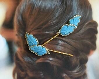 Bridal Hair Jewelry 1950's Lisner Vintage Blue Bridal Leaves Hair Pins Bobby Pins Periwinkle Cornflower Hyacinth