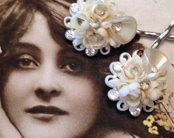 SALEWindyDays Decorative Hair Pins Jewelry 1930 1940's Mermaid Shell Celluloid Bridal Hairpins Bobby Pins