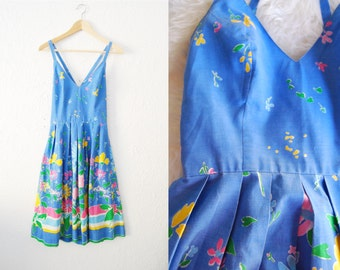 Vintage Blue Floral Print Cotton Criss Cross Back Full Skirt Dress Summer Picnic