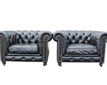 ONE Black Leather Chesterfield Chair