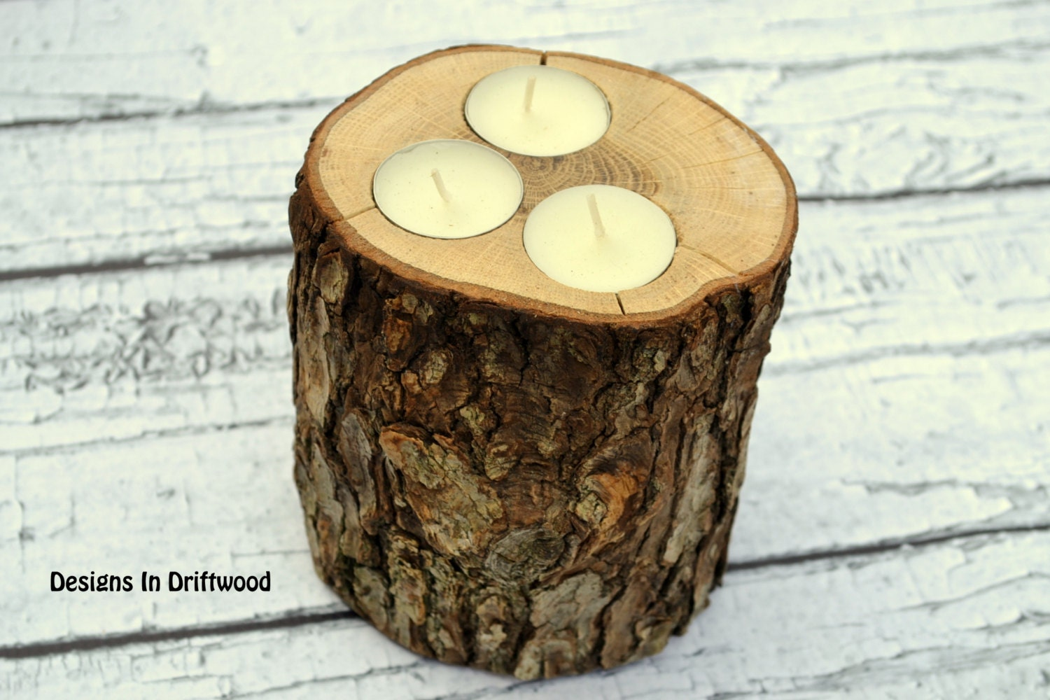 Set of 3 rustic wood candle holders by designsindriftwood for Rustic wood candle holders