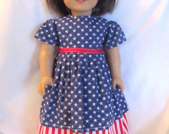 """Patriotic Stars and Stripes Dress for American Girl Doll or 18"""" Doll"""