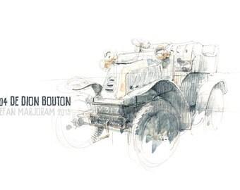 1904 De Dion Bouton - Original A4 Watercolour Sketch