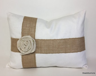 Burlap ribbon wrap pillow cover. Burlap rose. Jute rosette pillow cover. Fabric rose. White pillow cover. home decor accent throw pillow