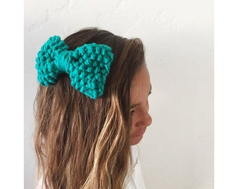 Teal knit bow clip, chunky knit large bow