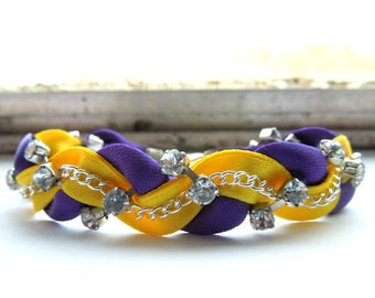 Purple and Yellow Braided Ribbon & Chain Bracelet