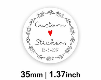 35mm Circle (1.37 inches) White Round Custom Stickers/Labels for Product Labels, Wedding Seals, Packaging