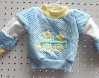 Vintage Baby Clothes. Vintage Baby Boy Clothes. Yellow. Blue. Teddy Bears.