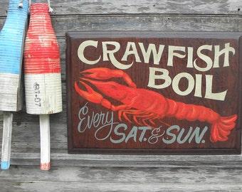 """Crawfish  Boil Sign, original, wooden sign, """"faux vintage"""",  decor,Cajun ZFS CF2"""
