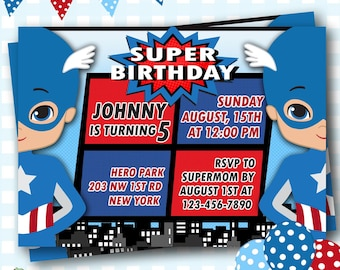 Captain America Invitation, Captain America Birthday Party, Captain America Invites, Captain America Party, Superhero Birthday Invites, #S33