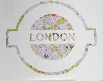 Vintage Map Art // LONDON UNDERGROUND // hand made paper cut from a vintage map of Greater London // Tube station