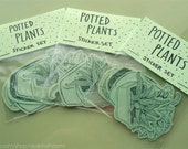 potted plants set of 6 stickers