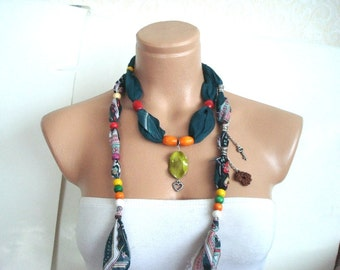 Wooden Beaded green Cotton Crochet Scarf, beaded Cotton Necklace cowl Belt, Headband Gift for woman,cotton beaded scarf necklace