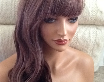 Sasha // Long auburn Wig with Highlights, Wavy, Curly, Synthetic Full Wig