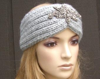 Knitted Headband Head Wrap Winter Ear Warmer Light Gray Grey with Sparkle Bead Applique