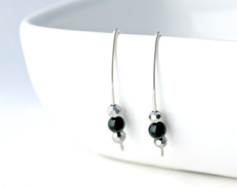 Black Obsidian and Faceted Silver Glass Three Bead Sterling Silver Earrings, Modern, Minimalist, Simple / Sparkle Earrings / E202