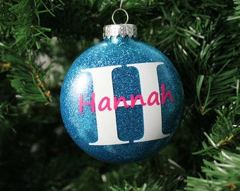 Teal and Pink Glitter Personalized Monogram Glass Ornament