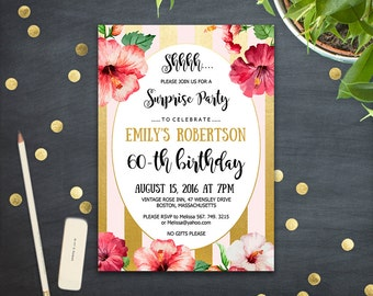 Adults Aloha Invite Etsy - Editable birthday invitations for adults