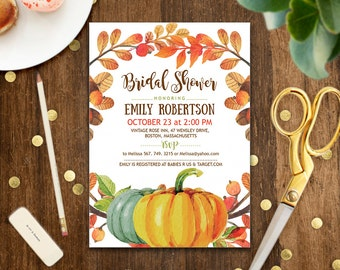Fall Pumpkin Bridal Shower Invitation Autumn Wedding Invite Printable Floral Bridal Brunch Rustic Fall Editable PDF - INSTANT DOWNLOAD