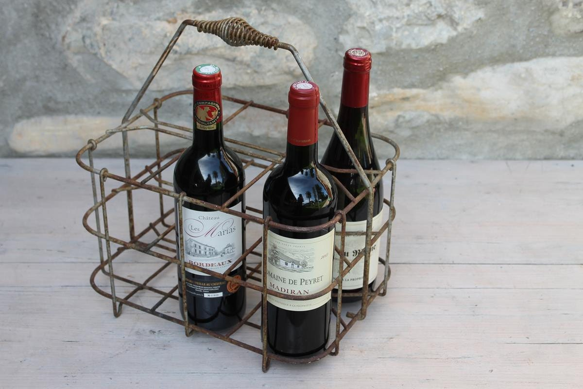 Vintage french wine metal bottle carrier 6 bottle caddy - Wire wine bottle carrier ...