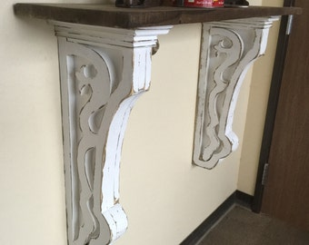 Antique style Corbel,Large Corbels with Shelf, Hallway Corbel, Primitive Corbels, Halltree Wall Shelf, French Country Corbels