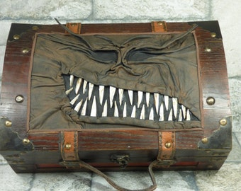 Desk Organizer Large Treasure Chest Pencil Box Trinket Storage Stash Tarot Box Black Brown Leather Harry Potter Labyrinth