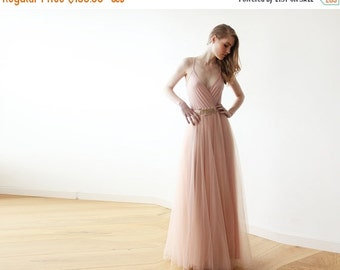 Pink tulle maxi dress, Bridesmaids pink straps maxi gown, Fairy tulle maxi dress 1053.