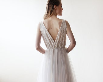Maxi tulle and sequins wedding gown , Tulle ivory wedding dress