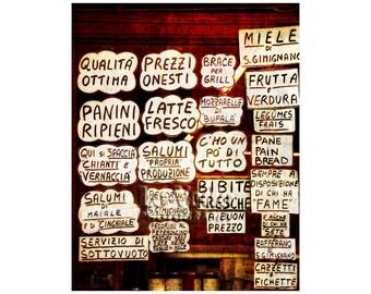 Italian Deli Photo, Fun Kitchen Art, Tuscany Photography, Delicatessen Sign, Italy, Food Photography