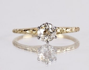 Antique Egagement Ring - Antique 1920s 14K Yellow and White Gold Diamond Engagement Ring