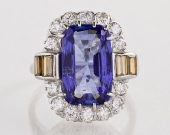 Antique Engagement Ring - Vintage Sapphire and Natural Yellow Diamond Ring