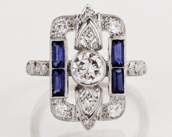 Antique Engagement Ring - Antique Art Deco Ring - Antique Art Deco Platinum & 18k White Gold Diamond and Sapphire Ring