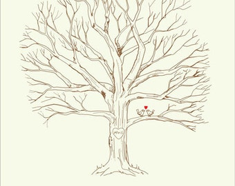 Canvas Wedding Tree Guest Book -  Hand Drawn Fingerprint Tree Print - Thumbprint Guestbook - Free Gift with Purchase