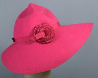 Vintage 70s 30s Hat Pink