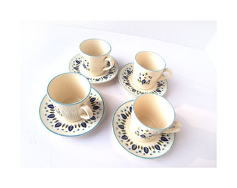 Vintage SET of Marcrest Swiss Alpine 4 Mugs & 4 Saucers Set