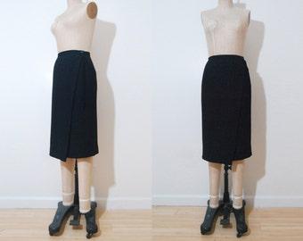 Giorgio Armani faux  wool wrap skirt | 1990s black wrap pencil skirt