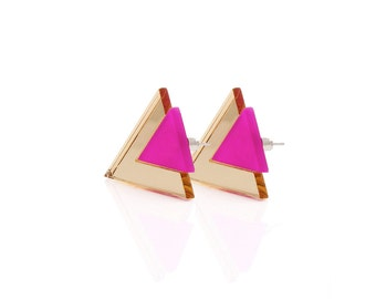 Geometric 80's Style Triangle Statement Stud Earrings, Deep Pink and Gold Color