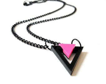 Geometric 80's Style Necklace, Triangle Necklace, Black and Neon Pink Color