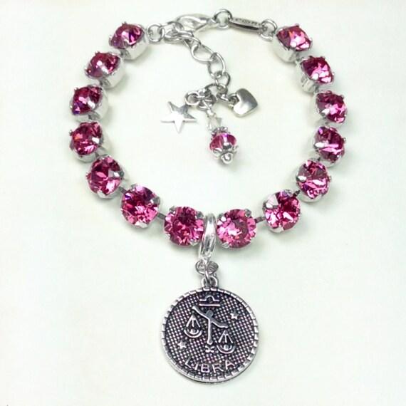 Swarovski Crystal 8.5mm - October/ Libra Birthstone Bracelet With Zodiac Charm - Great Birthday Gift! - Rose Birthstone - FREE SHIPPING