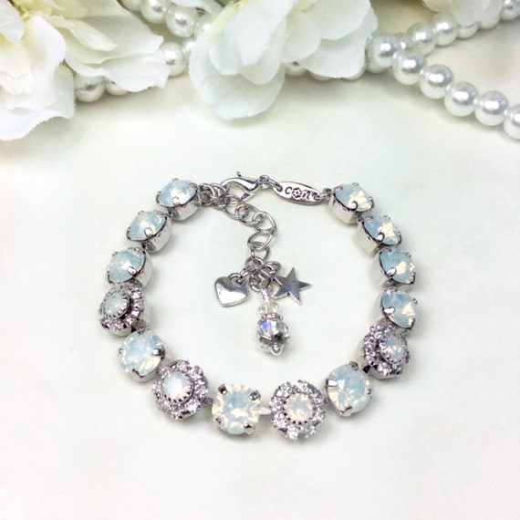Swarovski Crystal 8.5mm Bracelet With Flowers - White Opals & Flowers for Your Wrist! - Bridesmaid Gift    Designer Inspired - FREE SHIPPING
