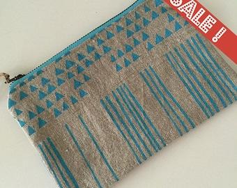 Hand screen printed linen zippered purse, small, blue, natural flax linen