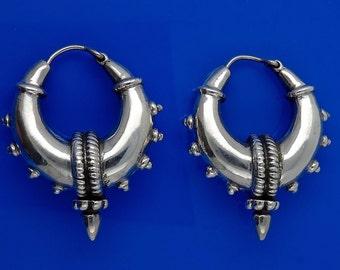 Sterling Silver Spiked Hoops Earrings Tribal Chic 21.9g