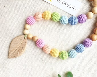 Teeting necklace nursing necklace with handmade ooak pendant bear owl turtle whale- soft pastel rainbow - choose your own - by Kangarusha