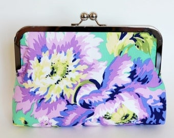 CLUTCH in Love Bliss Bouquet Emerald Green and Purple Floral - LARGE
