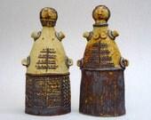 "Ceramic Sculpture ,  ""Cycladic Couple"" , Mediterranean , Tribal Art"