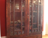 Vintage Stickley style cabinet with double bevel-edged glass doors  - bookcase, display case, china cabinet, dining room cabinet