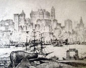 Vintage, Evocative, Staten Island Ferry, Governors Island, Original Etching, New York Skyline, Listed Artist, Anton Schutz, Pencil-Signed