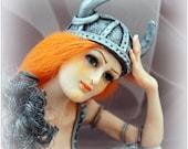 OOAK Art Doll Viking Miniature Sculpture Fairy female figure